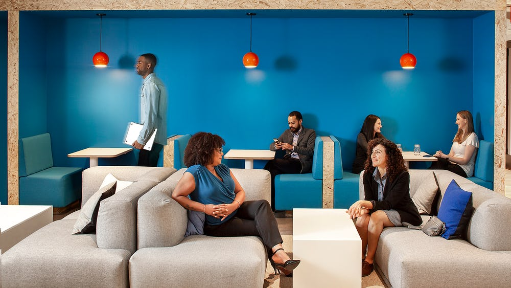 The lounge area creates a welcoming space for TripActions' visitors and employees, alike.